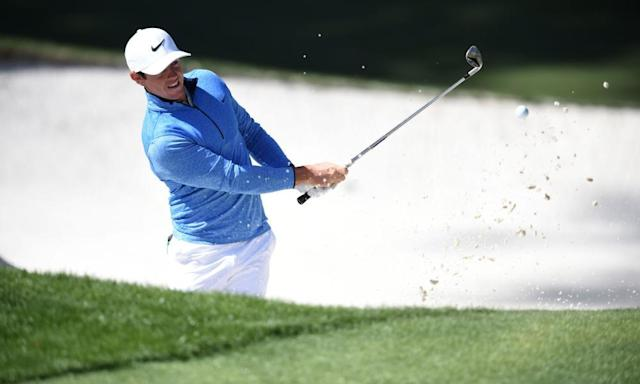 "<span class=""element-image__caption"">Rory McIlroy plays from a bunker during last year's Masters. The Augusta course was the scene of a painful collapse in the closing stages of the 2011 tournament.</span> <span class=""element-image__credit"">Photograph: Jim Watson/AFP/Getty Images</span>"