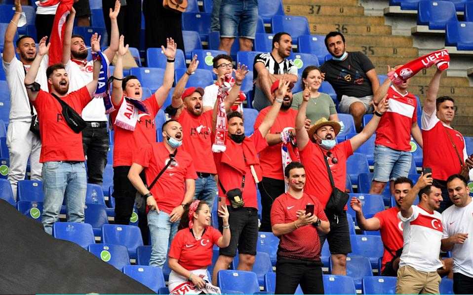 Fans of Turkey show their support prior to the UEFA Euro 2020 Championship Group A - Getty Images