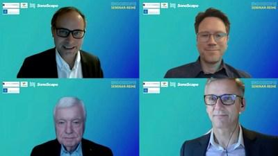 """Webinars on """"Quality Management of Endoscopy"""" and """"Update on Endoscopic Resection"""" were conducted in German language, by Prof. H. Neumann (top left), Prof. J Riemann (bottom left), Prof. Pech (top right) and Dr. Hohn (bottom right).These webinars offer CME points to German healthcare professionals who have participated the live broadcast, or watched the recording posted on-line after the event."""