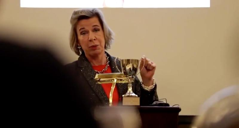 Katie Hopkins appeared delighted to accept the award. Source: YouTube