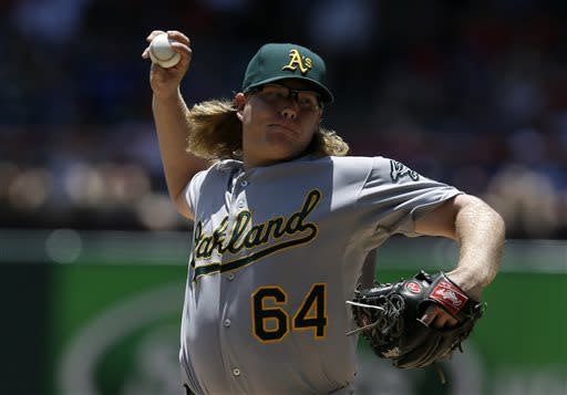 Oakland Athletics starting pitcher A.J. Griffin (64) delivers to the Texas Rangers in the first inning of a baseball game Thursday, June 20, 2013, in Arlington, Texas. (AP Photo/Tony Gutierrez)