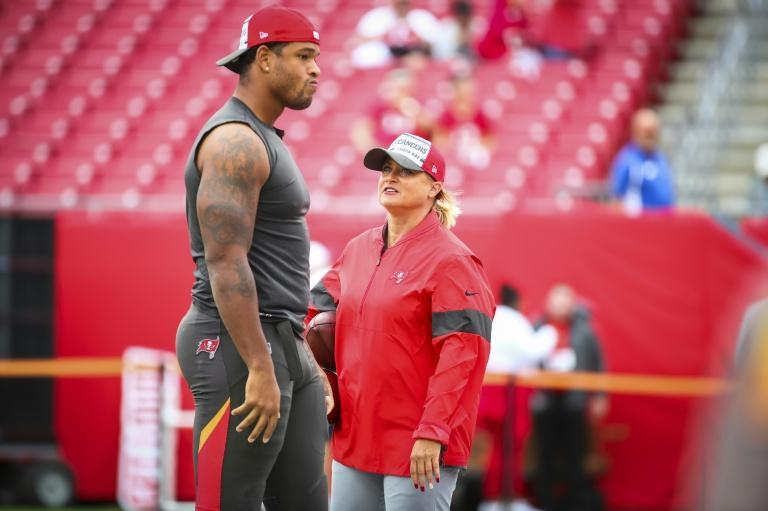 Tampa Bay Buccaneers assistant defensive line coach Lori Locust is one of two women employed as full-time members of the team's coaching staff heading at this week's Super Bowl