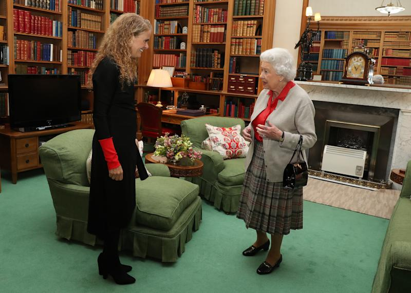 ABERDEEN, SCOTLAND - SEPTEMBER 20: Canadian Governor General Designate Julie Payette meets Queen Elizabeth during a private audience at Balmoral Castle on September 20, 2017 in Aberdeen Scotland. (Photo by Andrew Milligan - WPA Pool/Getty Images)