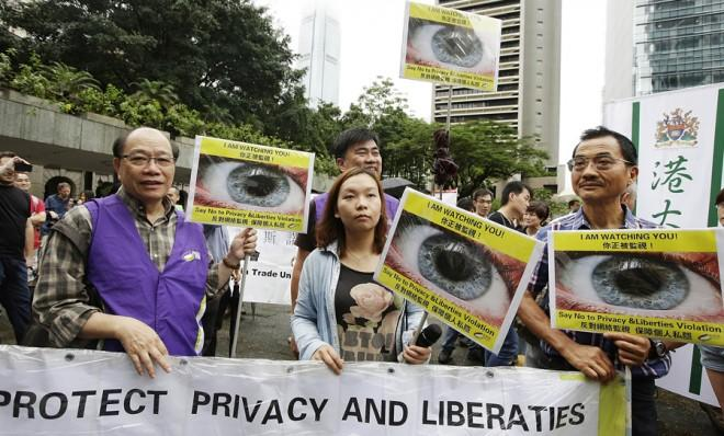 Edward Snowden supporters protest in Hong Kong on June 15.