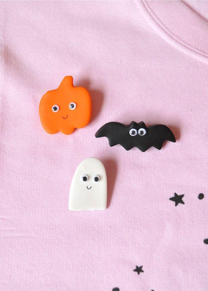 "<p>Youngsters can celebrate Halloween all month long by wearing these clay pins, which are shaped with cookie cutters, on their backpack or clothes.</p><p><strong>Get the tutorial at <a href=""https://www.handmadecharlotte.com/diy-clay-halloween-pins/"" rel=""nofollow noopener"" target=""_blank"" data-ylk=""slk:Handmade Charlotte"" class=""link rapid-noclick-resp"">Handmade Charlotte</a>.</strong></p><p><a class=""link rapid-noclick-resp"" href=""https://www.amazon.com/Anyumocz-Colors-Super-Creative-Crafts/dp/B0784BS6MH/?tag=syn-yahoo-20&ascsubtag=%5Bartid%7C10050.g.4950%5Bsrc%7Cyahoo-us"" rel=""nofollow noopener"" target=""_blank"" data-ylk=""slk:SHOP AIR-DRY CLAY"">SHOP AIR-DRY CLAY</a></p>"
