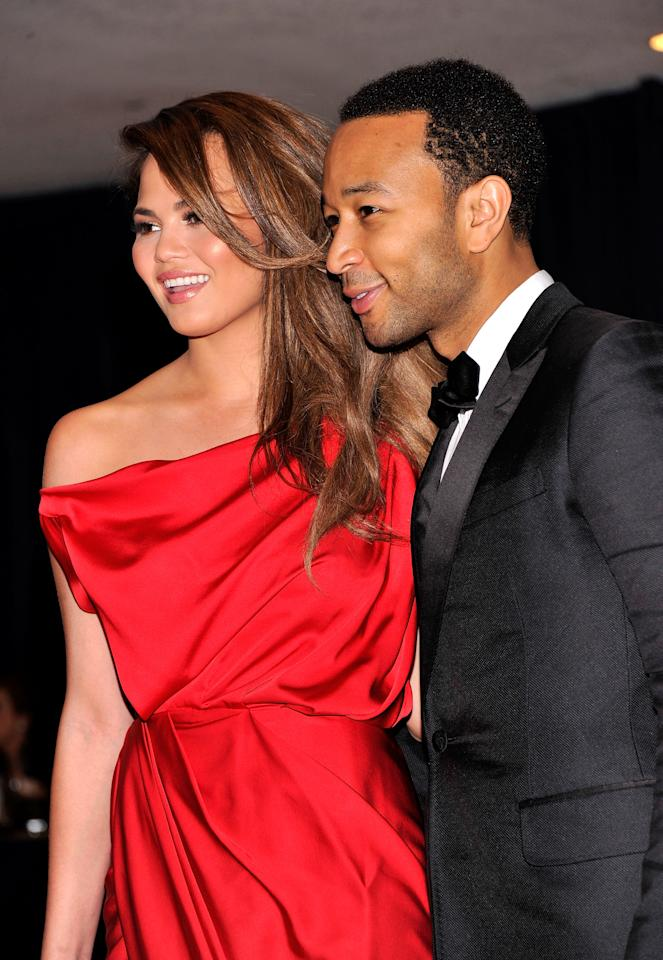 WASHINGTON, DC - APRIL 28:  John Legend and Chrissy Teigen attend the 98th Annual White House Correspondents' Association Dinner at the Washington Hilton on April 28, 2012 in Washington, DC.  (Photo by Stephen Lovekin/Getty Images)