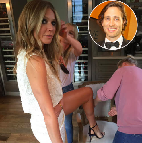 Brad Falchuk captured his lady, Gwyneth Paltrow, prepping for a gala -- and showing off her legs -- on Sunday. (Photo: Brad Falchuk via Instagram/Getty Images)