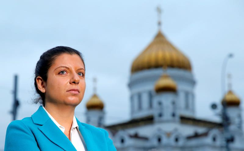 "Margarita Simonyan, editor-in-chief of Russian broadcaster RT, says the Justice Department demand ""contradicts both the democracy and freedom of speech principles."" (Maxim Shemetov / Reuters)"