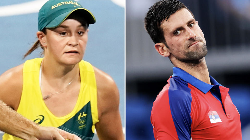 Ash Barty and Novak Djokovic, pictured here in action at the Tokyo Olympics.