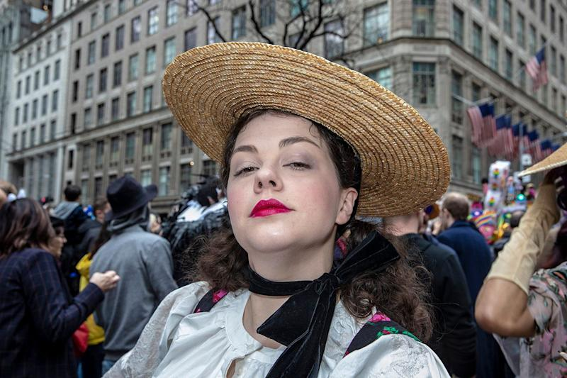 A costumed participant marches during the Easter Parade and Bonnet Festival, Sunday, April 21, 2019, in New York. (Photo: Gordon Donovan/Yahoo News)