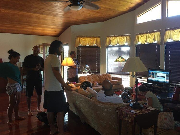 Carla Herreria's family gathered around to watch the news after learning the missile alert was sent by mistake. (Carla Herreria)