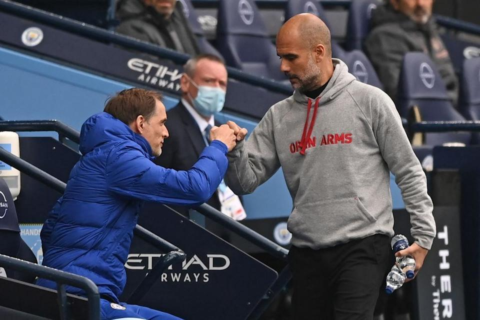 Chelsea manager Thomas Tuchel (left) and Manchester City counterpart Pep Guardiola  (Getty)