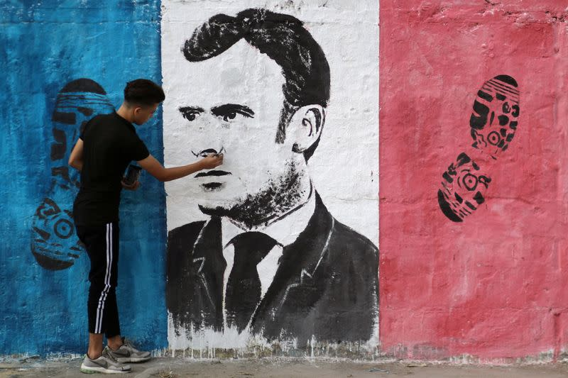 Anti-French President Emmanuel Macron mural in Gaza