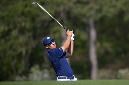 Jordan Spieth of the U.S. hits off the 12th tee during first round play at the 2018 Masters golf tournament in Augusta