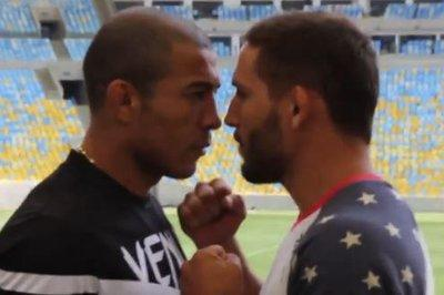 Jose Aldo shoves Chad Mendes at UFC 179 media day