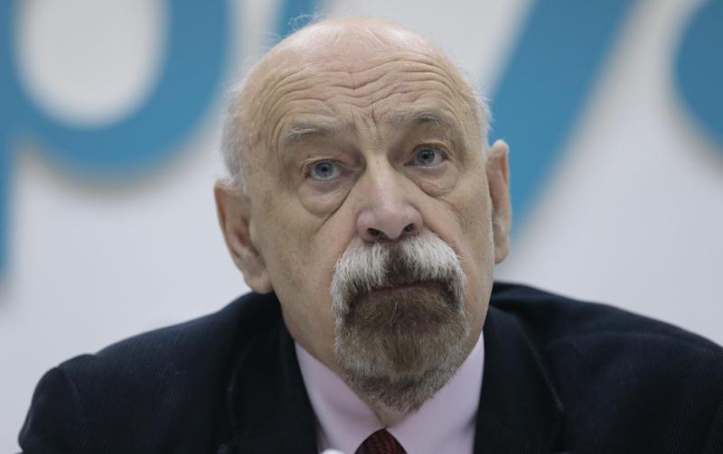 Russian prisoners rights activist Valery Borschev looks on during a news conference in Moscow, Russia, on Wednesday, Oct. 24, 2012. A respected Russian group of human rights activists has backed claims made by jailed opposition activist Leonid Razvozzhayev that he was tortured into confessing to plotting riots. (AP Photo/Ivan Sekretarev)