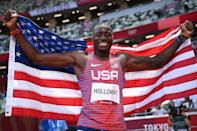 """<p>Biography: 23 years old</p> <p>Event: Men's 100m hurdles</p> <p>Quote: """"If I was to say I'm not upset, then I'm lying. But I have to be satisfied with the silver. I've got to go back home, got to work toward getting the gold again.""""</p>"""