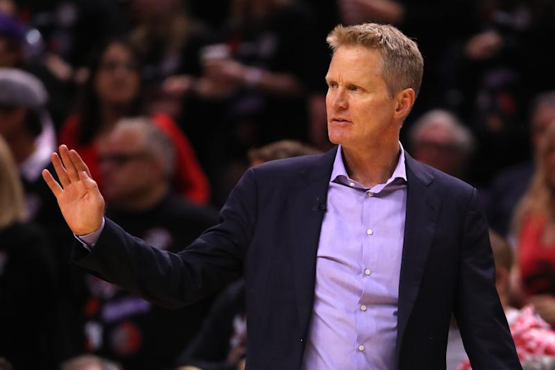 TORONTO, ONTARIO - MAY 30: Head coach Steve Kerr of the Golden State Warriors reacts against the Toronto Raptors in the second half during Game One of the 2019 NBA Finals at Scotiabank Arena on May 30, 2019 in Toronto, Canada. NOTE TO USER: User expressly acknowledges and agrees that, by downloading and or using this photograph, User is consenting to the terms and conditions of the Getty Images License Agreement. (Photo by Gregory Shamus/Getty Images)