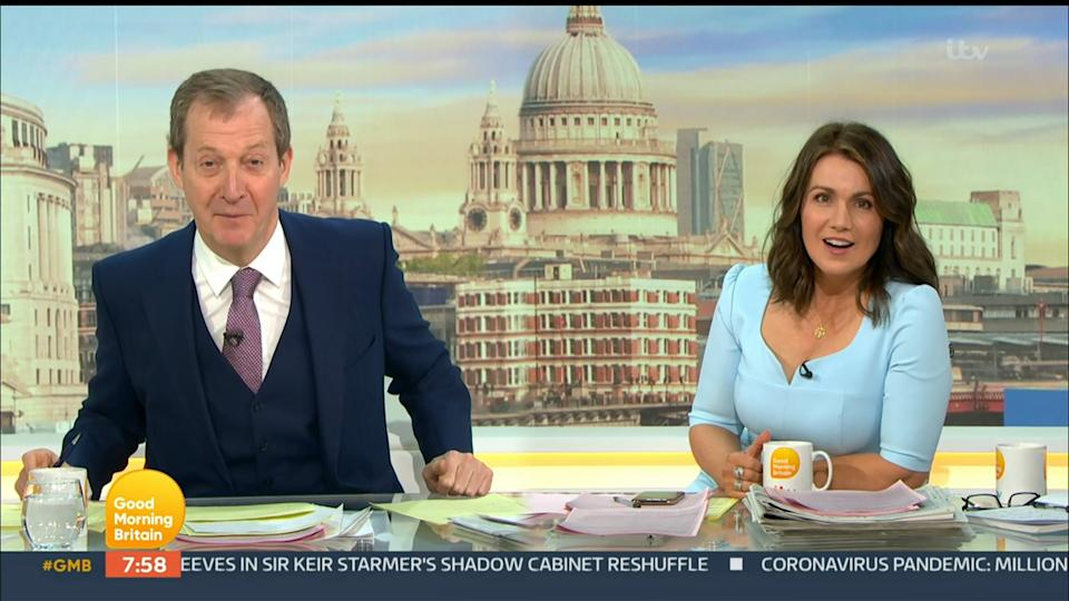 Mandatory Credit: Photo by ITV/Shutterstock (11896756e) Alastair Campbell and Susanna Reid 'Good Morning Britain' TV Show, London, UK - 10 May 2021