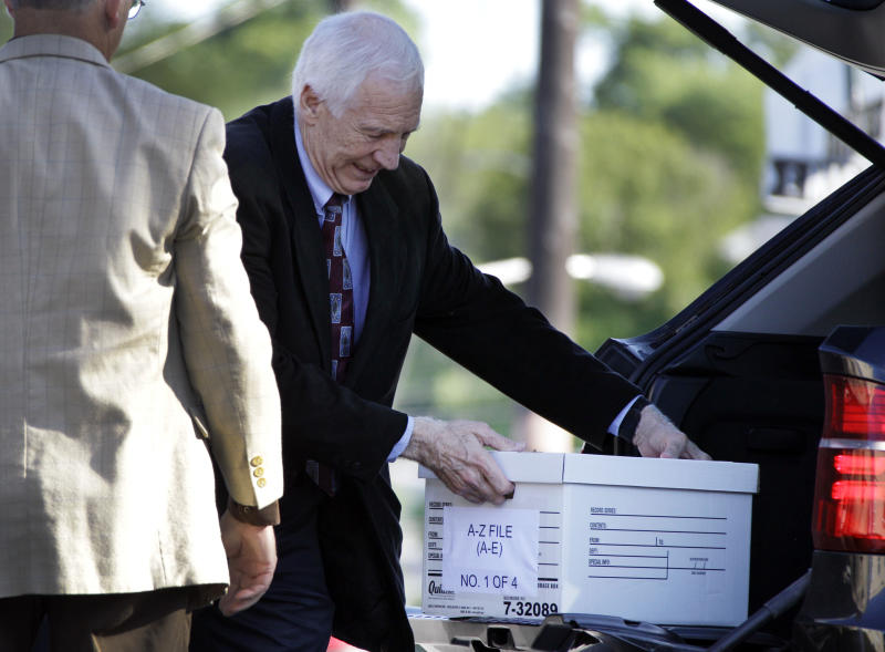 Former Penn State University assistant football coach Jerry Sandusky arrives for the third day of his trial at the Centre County Courthouse in Bellefonte, Pa., Wednesday, June 13, 2012. Sandusky faces 52 counts of child sex-abuse involving 10 boys over a 15-year span. (AP Photo/Gene J. Puskar)