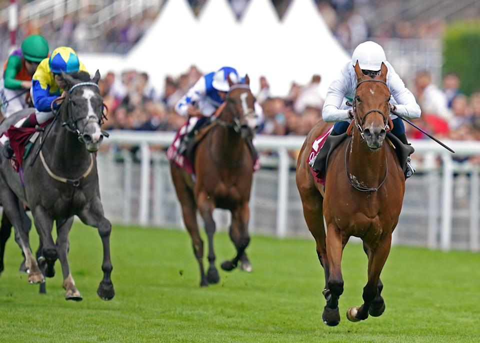 Suesa, ridden by William Buick, powered to victory in the King George Qatar Stakes at Goodwood (John Walton/PA) (PA Wire)