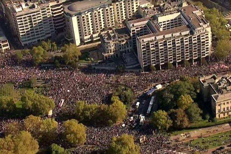 Aerial footage showed huge crowds gathered in central London for the start of the march (Sky News)