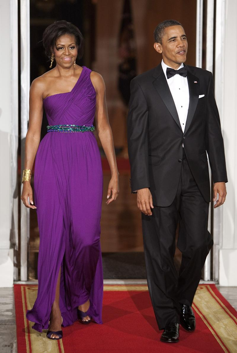 Many designers are taken by surprise when Obama shows up in one of their creations, but the Korean-American designer Doo-Ri Chung worked with Obama herself to alter one of her purple gowns so that it had a belt and more modest slit—alterations that were definitely worth the sacrifice when Obama wore it to a 2011 state dinner for South Korea.