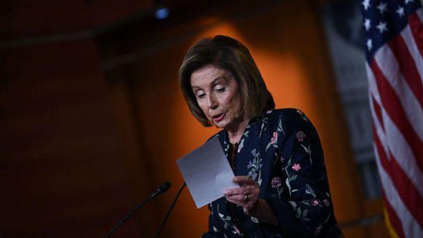 PHOTO: Speaker of the House, Nancy Pelosi, Democrat of California, speaks at her weekly press briefing on Capitol Hill in Washington, DC, July 22, 2021. (Brendan Smialowski/AFP via Getty Images)