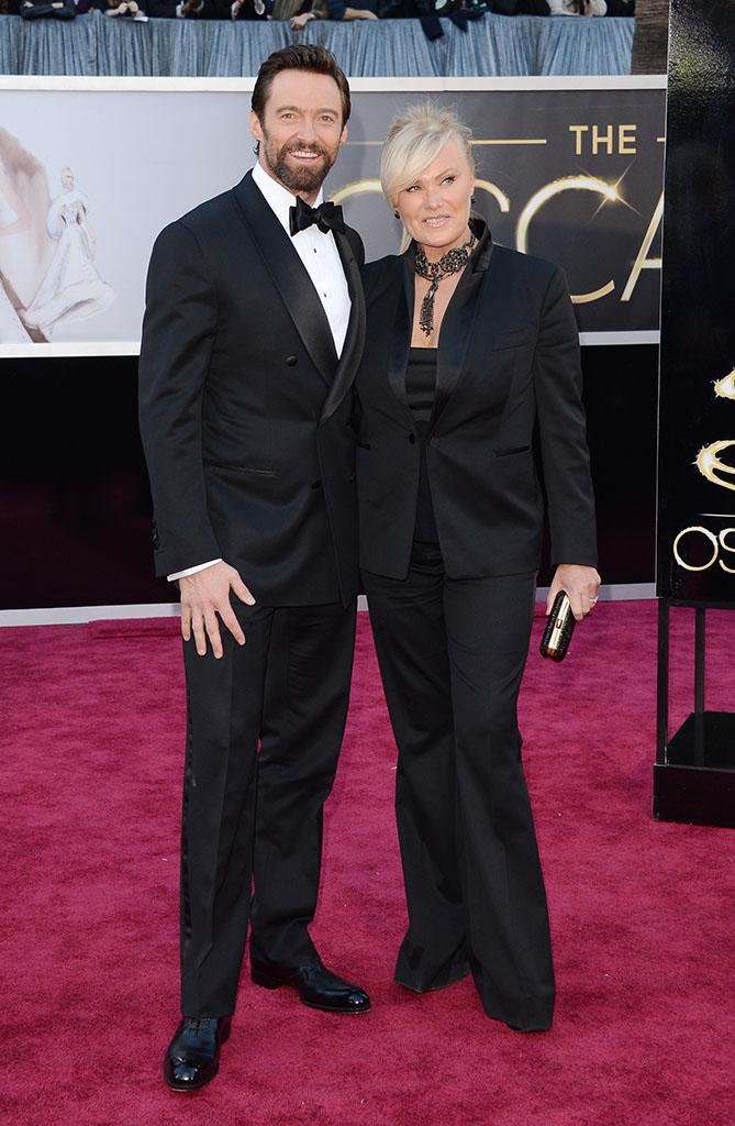 Hugh Jackman and Deborra-Lee Furness arrive at the Oscars in Hollywood, California, on February 24, 2013.