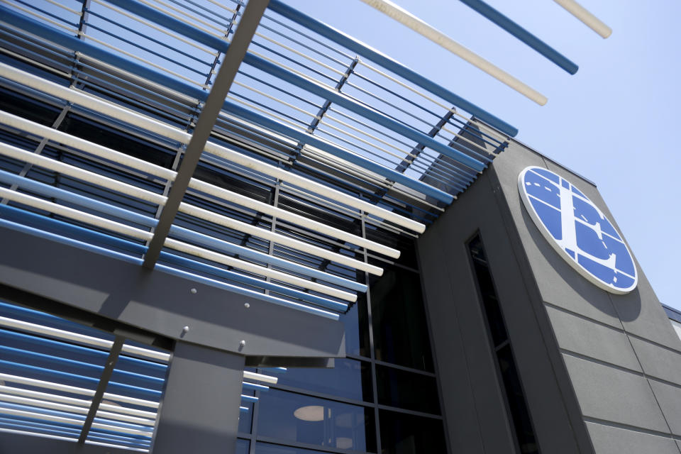 An exterior look of the Express Scripts mail-in pharmacy warehouse, Tuesday, July 10, 2018, in Florence, N.J. (AP Photo/Julio Cortez)