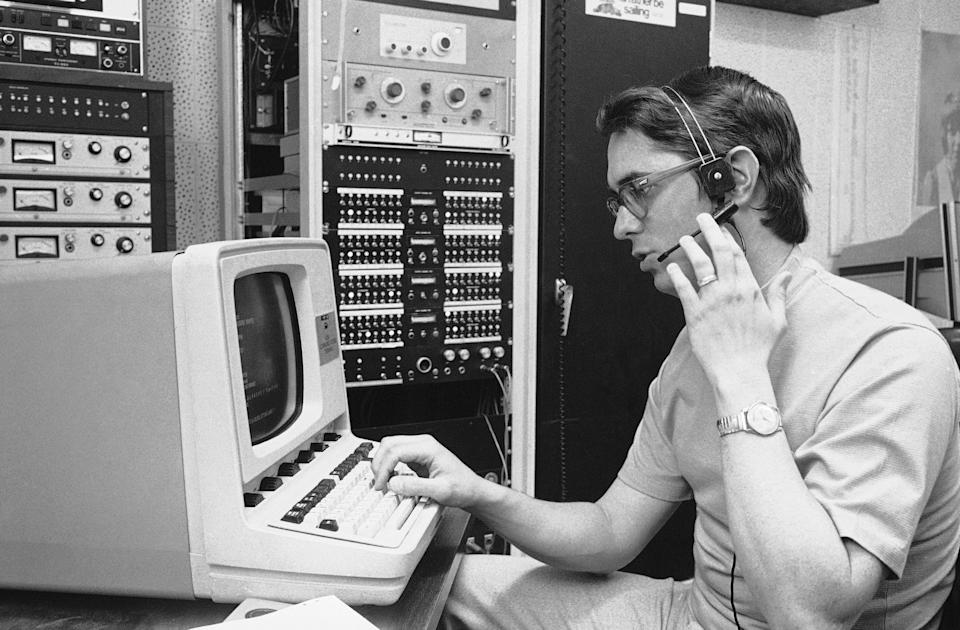 Dr. Harb Hayre, a professor of electric engineering at the University of Houston on March 18, 1975, checks the write out of his tattletale machine. The device can analyze the voice and tell more about a person than words alone. Properly applied, says the professor, the machine could: detect a drunk driver; tell who is lying and who is telling the truth; determine if a pilot is to tired to fly; tell the precise condition of a mental patient; or, determine if a person is under the influence of drugs. (AP Photo/EFK)
