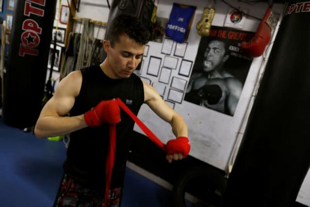 Boxer Farid Walizadeh is seen during a training session in Lisbon