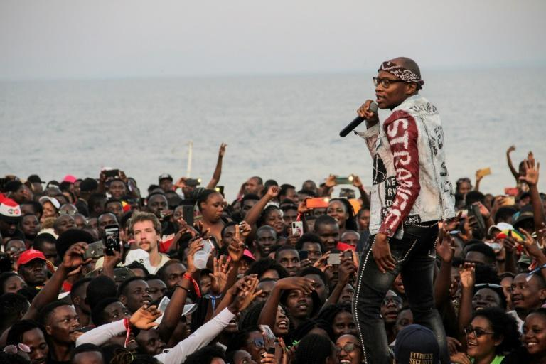 """Master KG , the South African DJ behind the global pop hit """"Jerusalema"""", performs at the Sand Festival on the beaches of Lake Malawi on November 1."""