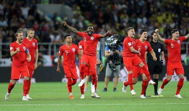England celebrate their shoot-out victory over Colombia at the 2018 World Cup