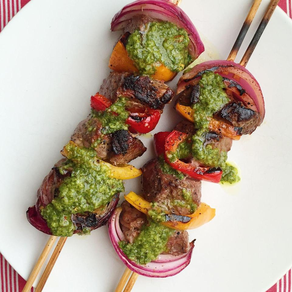 """<p>What does chimichurri—the zesty green herb sauce—<em>not</em> make instantly more delish?</p><p>Get the recipe from <a href=""""https://www.delish.com/cooking/recipe-ideas/recipes/a43233/grilled-steak-skewers-chimichurri-recipe/"""" rel=""""nofollow noopener"""" target=""""_blank"""" data-ylk=""""slk:Delish"""" class=""""link rapid-noclick-resp"""">Delish</a>. </p>"""