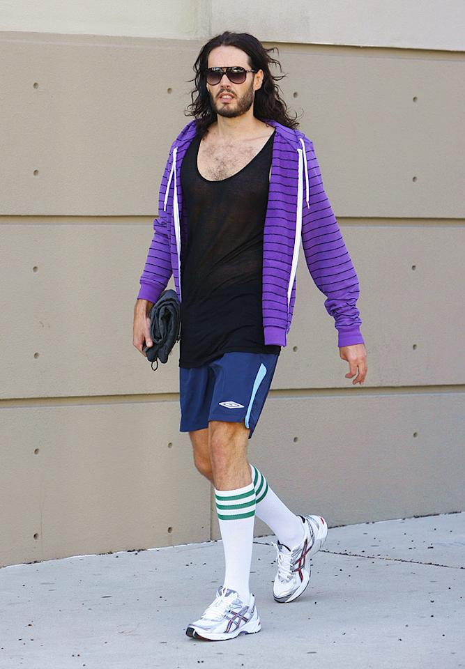 """I don't care if Russell Brand is heading to the gym or not; those striped socks have got to go! <a href=""""http://www.infdaily.com"""" target=""""new"""">INFDaily.com</a> - October 28, 2009"""