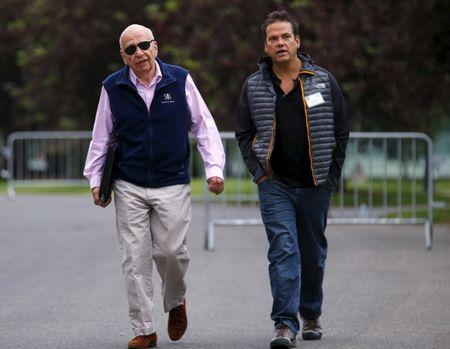 21st Century Fox Executive Co-Chairmen Rupert and Lachlan Murdoch attend the first day of the annual Allen and Co. media conference in Sun Valley