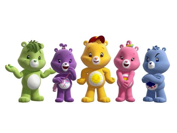 "<b>2007-2008</b><br><br>The Care Bears star in the hit CG movie, ""Oopsy Does It,"" featuring Oopsy Bear (far left). Oopsy is the only Care Bear to date who doesn't have a permanent Belly Badge symbol."