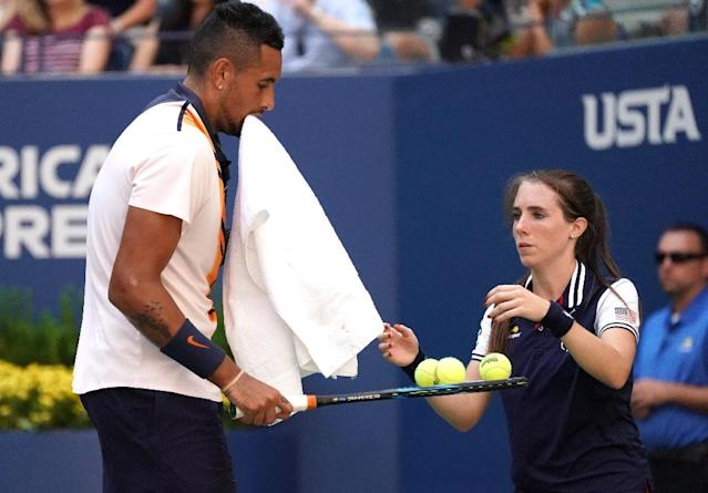 No answer: Nick Kyrgios during his straight-sets third round loss to Roger Federer at the US Open on Saturday. (AFP Photo/TIMOTHY A. CLARY)