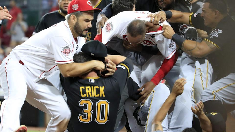 Tensions rose to a boil during Tuesday's game between the Reds and Pirates in Cincinnati. Amir Garrett sparked a fracas by charging the Pirates' dugout and throwing a punch.