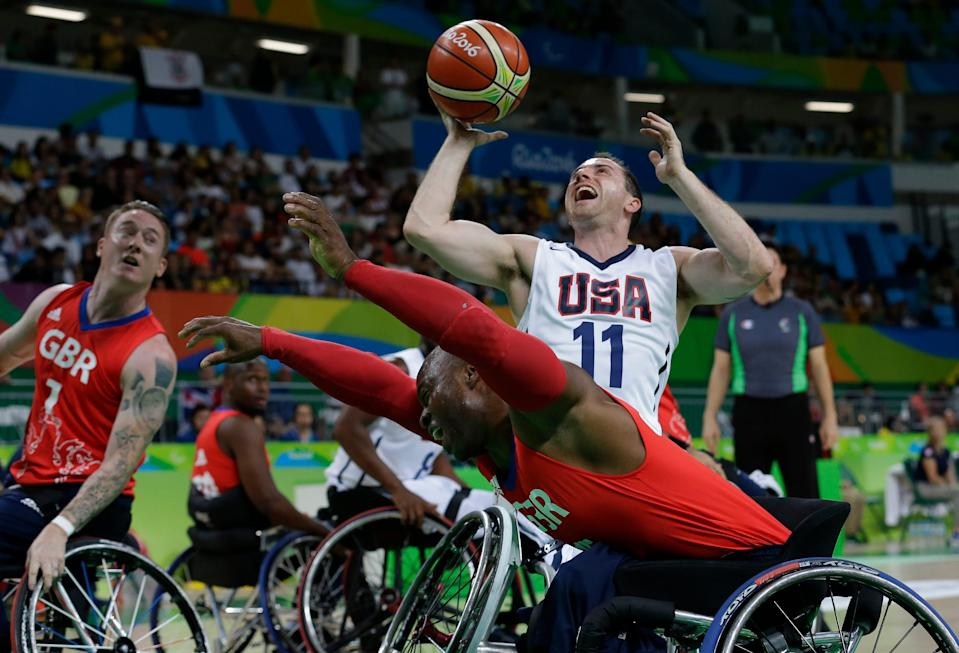 Steve Serio takes a shot during the 2016 Rio Paralympics.