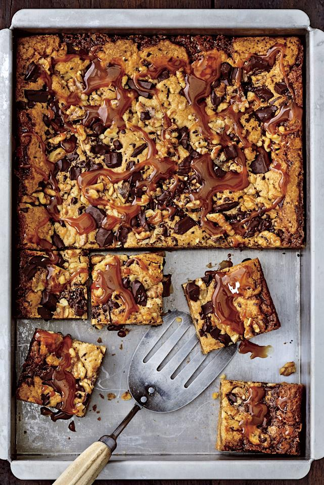 "<p>These <a href=""https://www.southernliving.com/food/holidays-occasions/best-cookies-recipes"">ooey-gooey blondies</a> have pockets of delicious homemade caramel throughout. Short on time? Say no more. Just substitute a jarred salted-caramel sauce for the <a href=""https://www.southernliving.com/food/how-to/best-way-make-homemade-caramel"">homemade version</a>. For a sweet touch, top the blondies with extra caramel; microwave it for 15 seconds to make it easier to pour.</p> <p><a href=""https://www.myrecipes.com/recipe/brown-butter-blondies"">Brown Butter-Caramel Blondies Recipe</a></p>"