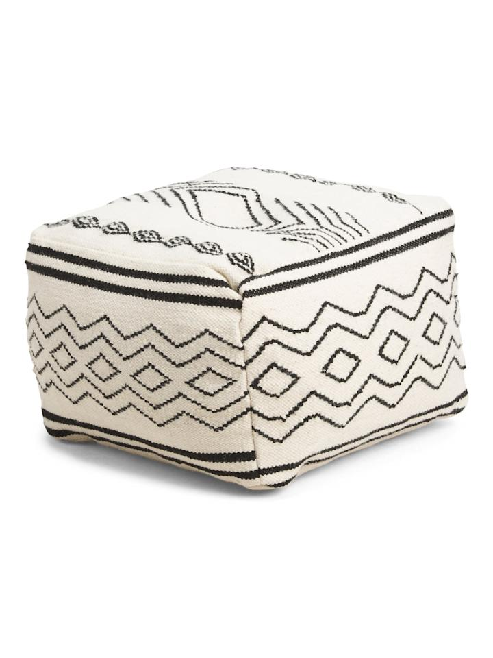 """<p>Say goodbye to bulky accent chairs, this <a href=""""https://www.popsugar.com/buy/Wool-Blend-Woven-Pouf-473177?p_name=Wool%20Blend%20Woven%20Pouf&retailer=tjmaxx.tjx.com&pid=473177&price=80&evar1=casa%3Aus&evar9=46427658&evar98=https%3A%2F%2Fwww.popsugar.com%2Fhome%2Fphoto-gallery%2F46427658%2Fimage%2F46427952%2FWool-Blend-Woven-Pouf&list1=furniture%2Ctjmaxx&prop13=mobile&pdata=1"""" rel=""""nofollow"""" data-shoppable-link=""""1"""" target=""""_blank"""" class=""""ga-track"""" data-ga-category=""""Related"""" data-ga-label=""""https://tjmaxx.tjx.com/store/jump/product/home-home-accent-furniture/20x20-Wool-Blend-Woven-Pouf/1000433605?colorId=NS1003537&amp;pos=1:73&amp;N=21182536+0"""" data-ga-action=""""In-Line Links"""">Wool Blend Woven Pouf</a> ($80) works great as an extra seat. </p>"""