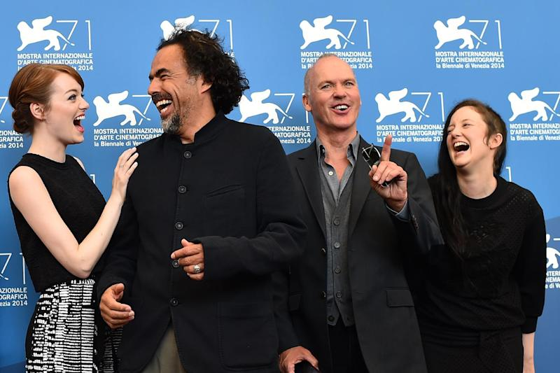 """From left: US actress Emma Stone, Mexican director Alejandro Inarritu, US actor Michael Keaton and British actress Andrea Riseborough attend a photocall for """"Birdman or the Unexpected Virtue of Ignorance"""" at Venice Film Festival on August 27, 2014 (AFP Photo/Gabriel Bouys)"""