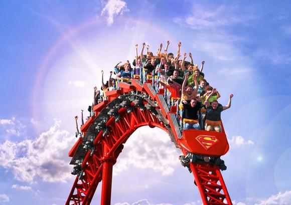Superman roller coaster at Six Flags.