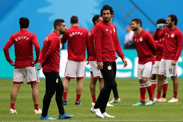 Soccer Football - World Cup - Egypt Training - Saint Petersburg Stadium, Saint Petersburg, Russia - June 18, 2018 Egypt's Ahmed Hegazi during training REUTERS/Henry Romero