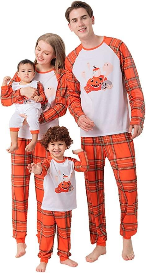 <p>Embrace the fall vibe with these <span>Halloween Pumpkin and Plaid Matching Pajamas</span> ($7 - $18). The plaid pattern is such a vibe for the season and the loose fit is perfect for lounging around at home. </p>