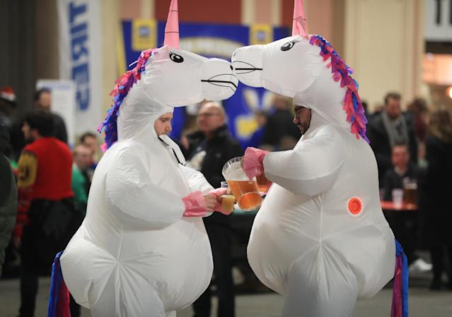 These unicorns seemed to be enjoying themselves, too. (Photo by Mike Egerton/PA Images via Getty Images)