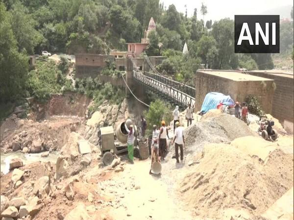 Bridge under construction over Tawi river in Udhampur. (Photo/ANI)