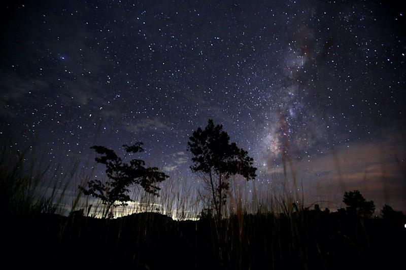 This long-exposure photograph taken on August 12, 2013 shows the Milky Way in the clear night sky near Yangon: Ye Aung Thu/AFP via Getty Images